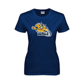 Ladies Navy T Shirt-Warner Royals w/ Lion