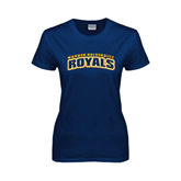 Ladies Navy T Shirt-Arched Warner University Royals