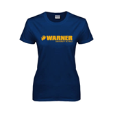 Ladies Navy T Shirt-Warner University Royals w/ Lion Head
