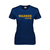 Ladies Navy T Shirt-Warner University