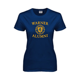 Ladies Navy T Shirt-Warner Alumni