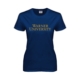 Ladies Navy T Shirt-Warner University Stacked