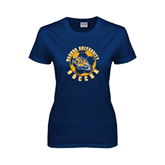 Ladies Navy T Shirt-Soccer Circle Design