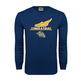Navy Long Sleeve T Shirt-Track and Field Design