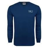 Navy Long Sleeve T Shirt-WU Cattle Brand
