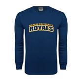 Navy Long Sleeve T Shirt-Arched Warner University Royals