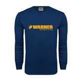 Navy Long Sleeve T Shirt-Warner University Royals w/ Lion Head