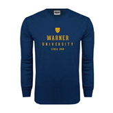 Navy Long Sleeve T Shirt-Warner University Stacked w/ Shield