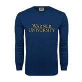 Navy Long Sleeve T Shirt-Warner University Stacked