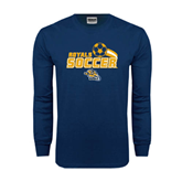 Navy Long Sleeve T Shirt-Soccer Swoosh Design