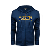 ENZA Ladies Navy Fleece Full Zip Hoodie-Arched Warner University Royals