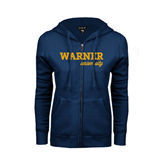 ENZA Ladies Navy Fleece Full Zip Hoodie-Warner University
