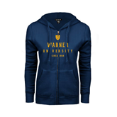 ENZA Ladies Navy Fleece Full Zip Hoodie-Warner University Stacked w/ Shield