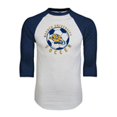 White/Navy Raglan Baseball T-Shirt-Soccer Circle Design