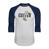 White/Navy Raglan Baseball T-Shirt-Soccer Swoosh Design