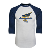 White/Navy Raglan Baseball T-Shirt-Track and Field Design