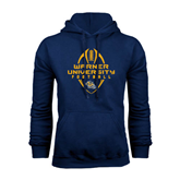 Navy Fleece Hoodie-Tall Football Design