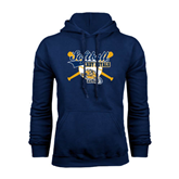 Navy Fleece Hoodie-Softball Crossed Bats w/ Ball