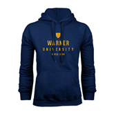 Navy Fleece Hoodie-Warner University Stacked w/ Shield
