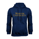 Navy Fleece Hoodie-Warner University Stacked