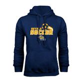 Navy Fleece Hoodie-Soccer Swoosh Design