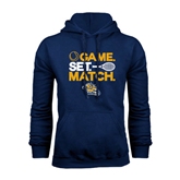Navy Fleece Hoodie-Game. Set. Match. Tennis Design