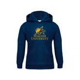 Youth Navy Fleece Hoodie-Official Logo