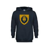 Youth Navy Fleece Hoodie-Lion Head Shield