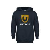 Youth Navy Fleece Hoodie-Softball