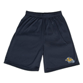 Performance Navy 9 Inch Length Shorts-Warner Royals w/ Lion