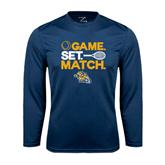 Performance Navy Longsleeve Shirt-Game. Set. Match. Tennis Design