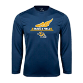 Performance Navy Longsleeve Shirt-Track and Field Design