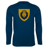 Performance Navy Longsleeve Shirt-Lion Head Shield