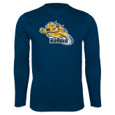 Performance Navy Longsleeve Shirt-Flying Lion