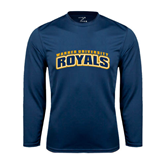 Performance Navy Longsleeve Shirt-Arched Warner University Royals
