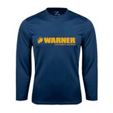 Performance Navy Longsleeve Shirt-Warner University Royals w/ Lion Head