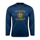 Performance Navy Longsleeve Shirt-Warner Alumni
