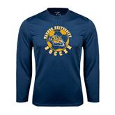 Performance Navy Longsleeve Shirt-Soccer Circle Design
