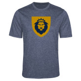 Performance Navy Heather Contender Tee-Lion Head Shield