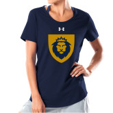 Ladies Under Armour Navy Charged Cotton Tee-Lion Head Shield