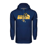 Under Armour Navy Performance Sweats Team Hood-Soccer Swoosh Design