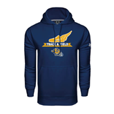 Under Armour Navy Performance Sweats Team Hood-Track and Field Design