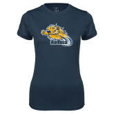 Ladies Syntrel Performance Navy Tee-Flying Lion
