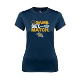 Ladies Syntrel Performance Navy Tee-Game. Set. Match. Tennis Design