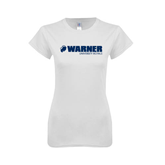Next Level Ladies SoftStyle Junior Fitted White Tee-Warner University Royals w/ Lion Head
