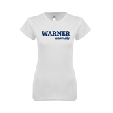 Next Level Ladies SoftStyle Junior Fitted White Tee-Warner University