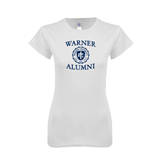 Next Level Ladies SoftStyle Junior Fitted White Tee-Warner Alumni