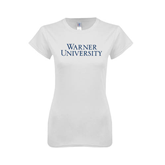 Next Level Ladies SoftStyle Junior Fitted White Tee-Warner University Stacked