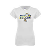 Next Level Ladies SoftStyle Junior Fitted White Tee-Soccer Swoosh Design