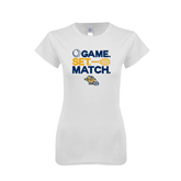 Next Level Ladies SoftStyle Junior Fitted White Tee-Game. Set. Match. Tennis Design